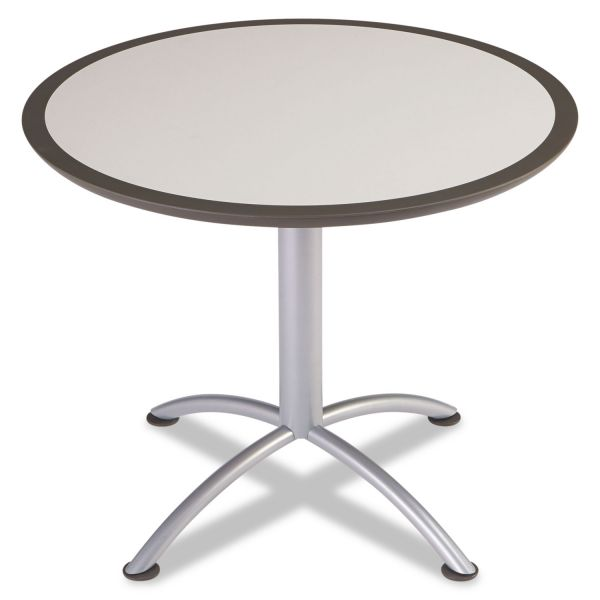Iceberg iLand Table, Dura Edge, Round Seated Style, 36 dia x 29h, Gray/Silver