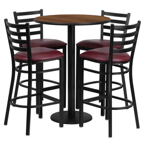 Flash Furniture 30'' Round Walnut Laminate Table Set with 4 Ladder Back Metal Barstools - Burgundy Vinyl Seat