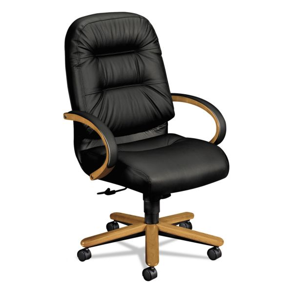 HON 2190 Pillow-Soft Wood Series Executive High-Back Chair, Harvest/Black Leather