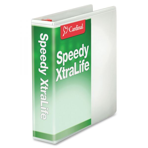"Cardinal Speedy XtraLife Non-Stick Locking 3-Ring View Binder, 2"" Capacity, Slant-D Ring, White"