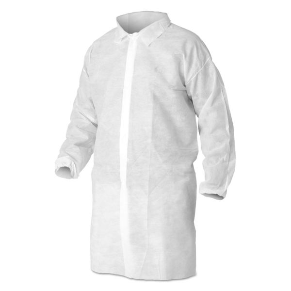 KleenGuard* A10 Light Duty Lab Coats, Large, White, 50/Carton