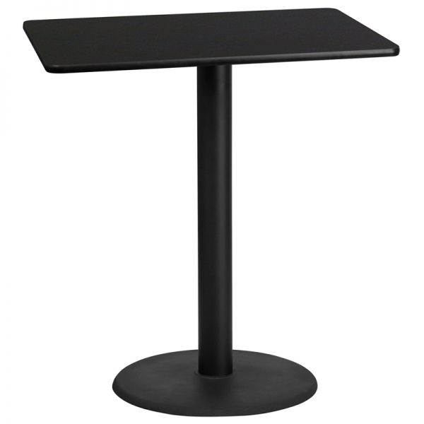 Flash Furniture 30'' x 42'' Rectangular Black Laminate Table Top with 24'' Round Bar Height Table Base