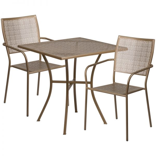 Flash Furniture 28'' Square Gold Indoor-Outdoor Steel Patio Table Set with 2 Square Back Chairs