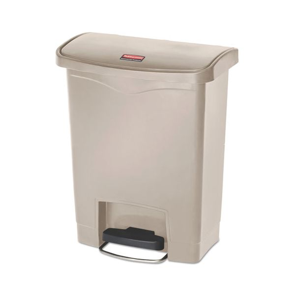 Rubbermaid Commercial Slim Jim Resin Step-On Container, Front Step Style, 8 gal, Beige