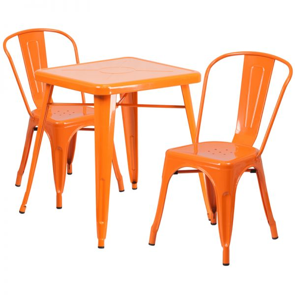Flash Furniture 23.75'' Square Orange Metal Indoor-Outdoor Table Set with 2 Stack Chairs