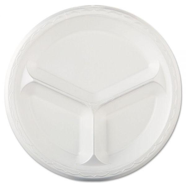 "Genpak Elite Laminated Foam Dinnerware, 3-Comp Plate, 10.25""Dia, White, 125/PK, 4 PK/CT"