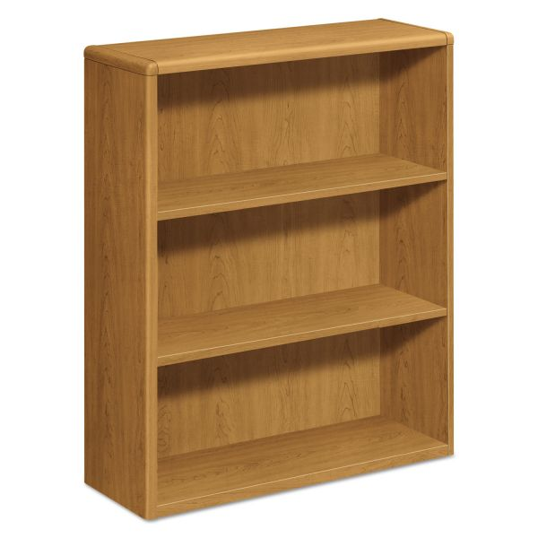 HON 10700 Series Wood Bookcase, Three Shelf, 36w x 13 1/8d x 43 3/8h, Harvest