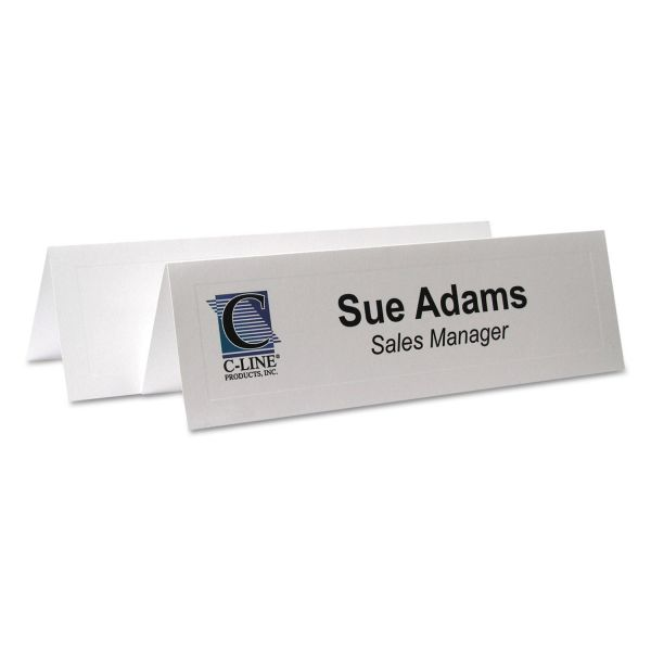 C-Line Embossed Tent Cards, White, 8 1/2 x 2 1/2, 2 Card/Sheet, 50 Sheets/Box