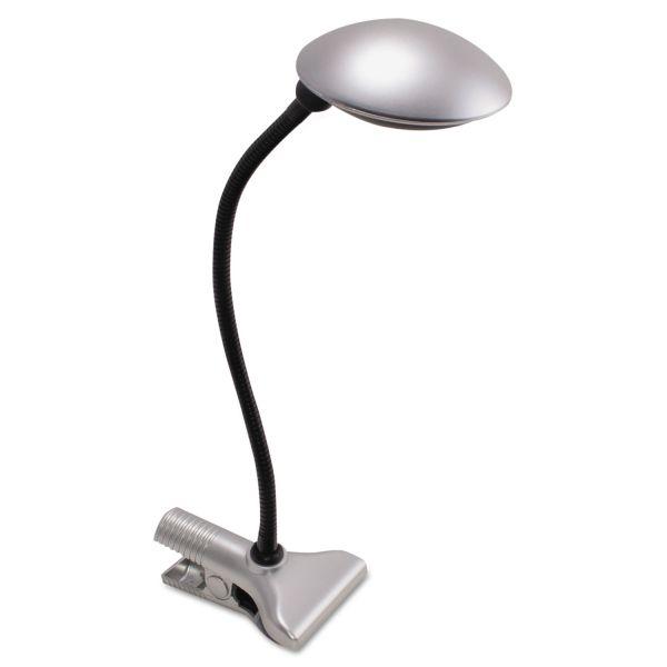 Ledu 3W Clip-On Domed LED Desk Task Lamp, 8w x 18h, Silver