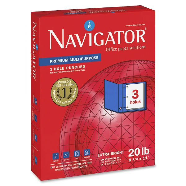 Navigator Premium Three-Hole Punched White Copy Paper