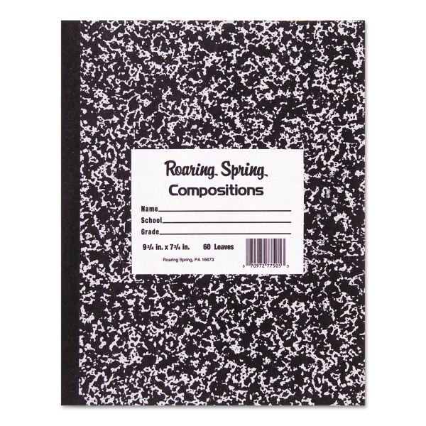 Roaring Spring Marble Cover Composition Book, Wide Rule, 10 x 8, 60 Pages