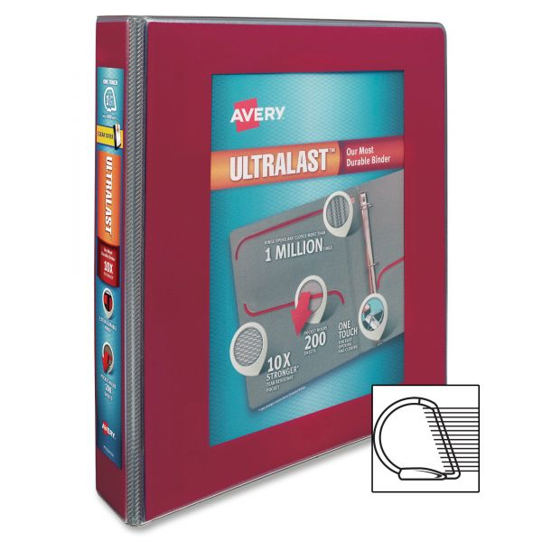 """Avery UltraLast 1 1/2"""" 3-Ring View Binder w/1-Touch Slant Rings"""