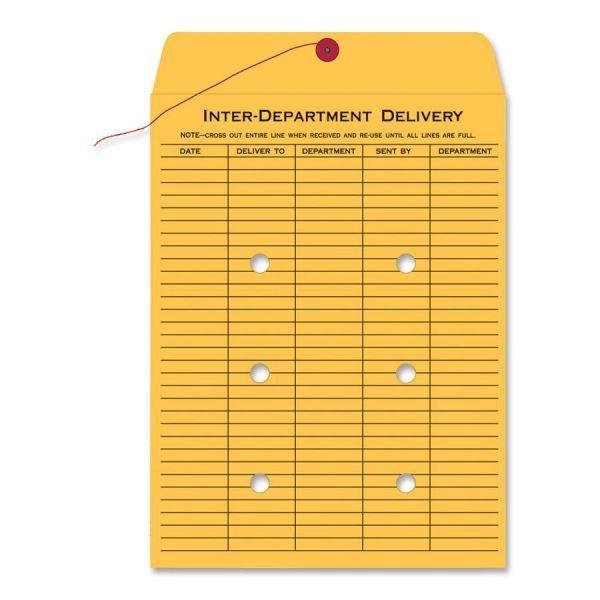 Quality Park Brown Kraft String & Button Interoffice Envelope, 10 x 15, 100/Carton