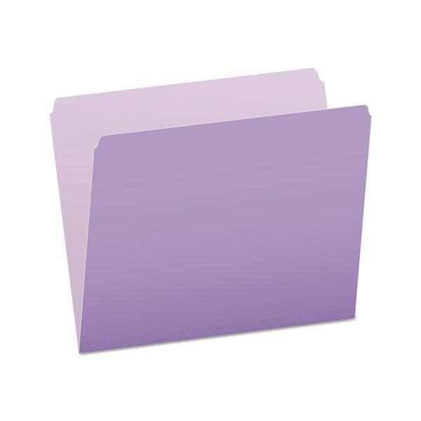 Pendaflex Colored File Folders, Straight Top Tab, Letter, Lavender/Light Lavender, 100/Box