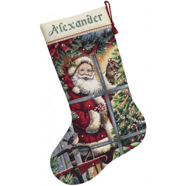 Gold Collection Candy Cane Santa Stocking Counted Cross Stitch Kit