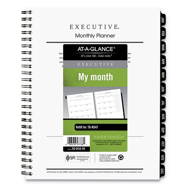 AT-A-GLANCE Executive Monthly Planner Refill, 6 5/8 x 8 3/4, White, 2019
