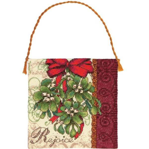 Gold Petite Mistletoe Ornament Counted Cross Stitch Kit