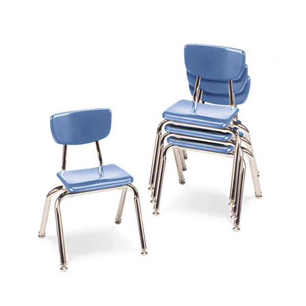 "Virco 3000 Series Classroom Chairs, 14"" Seat Height, Blueberry, 4/Carton"