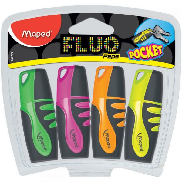 Fluo Mini Soft Grip Highlighter 4/Pkg