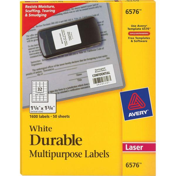 Avery Permanent ID Labels w/TrueBlock Technology, Laser, 1 1/4 x 1 3/4, White, 1600/PK