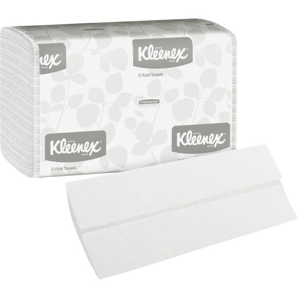 Kleenex C-Fold Paper Towels, 10 1/8 x 13 3/20, 1-Ply, White, 150 Sheets/Pack, 16 Packs/Carton