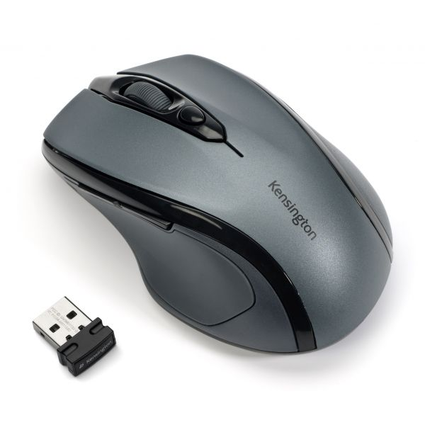 Kensington Pro Fit Mid-Size Wireless Mouse, Right, Windows, Gray