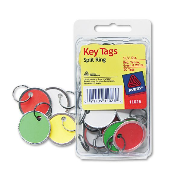 Avery Key Tags with Split Ring, 1 1/4 dia, Assorted Colors, 50/Pack