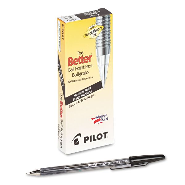 Pilot Better Ball Point Stick Pen, Black Ink, 1mm, Dozen