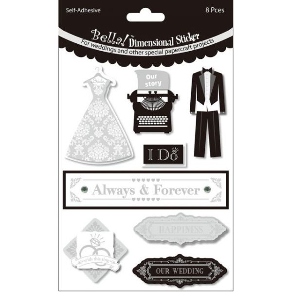 Bella! Wedding Glitter & Foil 3D Stickers