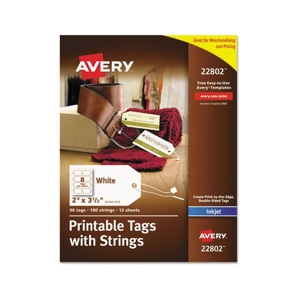 Avery Printable Rectangular Tags with Strings, 2 x 3 1/2, White, 96/Pack