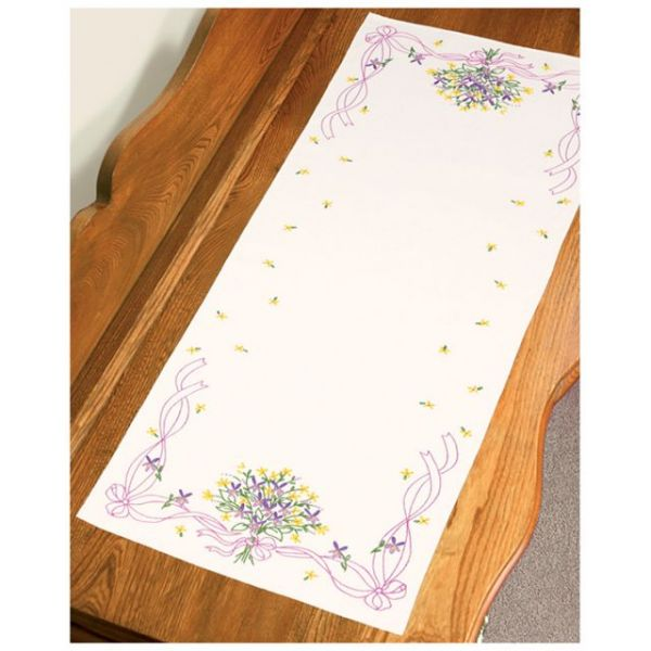 """Stamped Embroidery Dresser Scarf 14""""X39"""""""