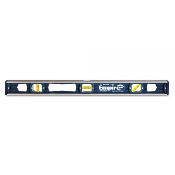 "Empire 581 Series Magnetic I-Beam Level, 24"" Long, Aluminum, Tri-Vial"