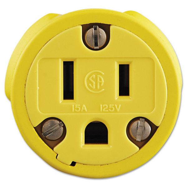 Daniel Woodhead Super-Safeway Female-End Replacement Connector, NEMA 5 15, Rubber, Yellow