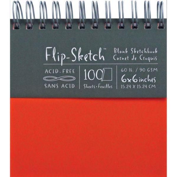 """Flip-Sketch Blank Spiral Sketch Book 6""""X6"""""""