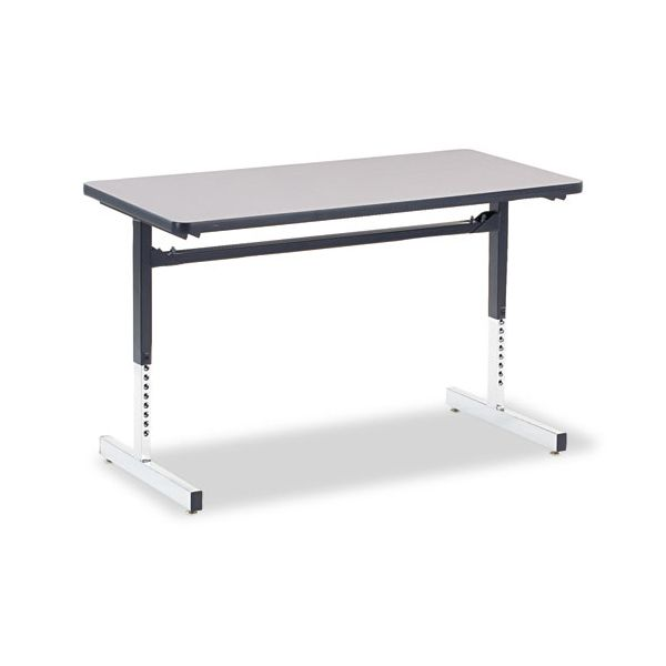 8700 Series Rectangular Activity Table, 24 x 48 x 22 to 30h, Gray Nebula Finish