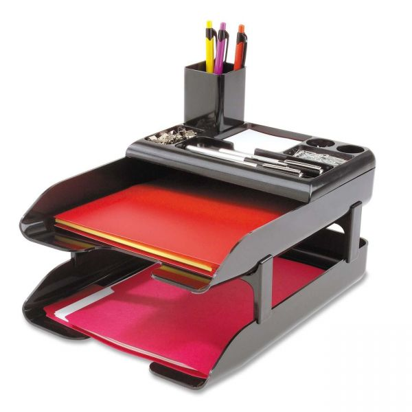 deflect-o Corporate Desk Tray Set, Two-Tier, Plastic, Metallic Black