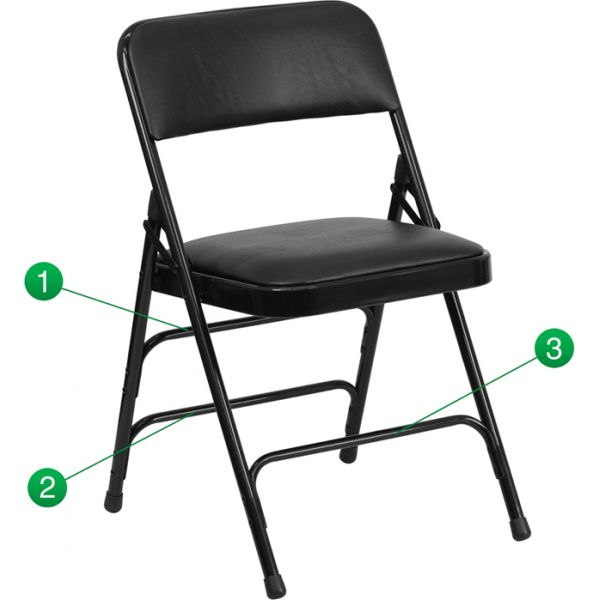 Flash Furniture HERCULES Series Curved Triple Braced & Double Hinged Black Vinyl Upholstered Metal Folding Chair