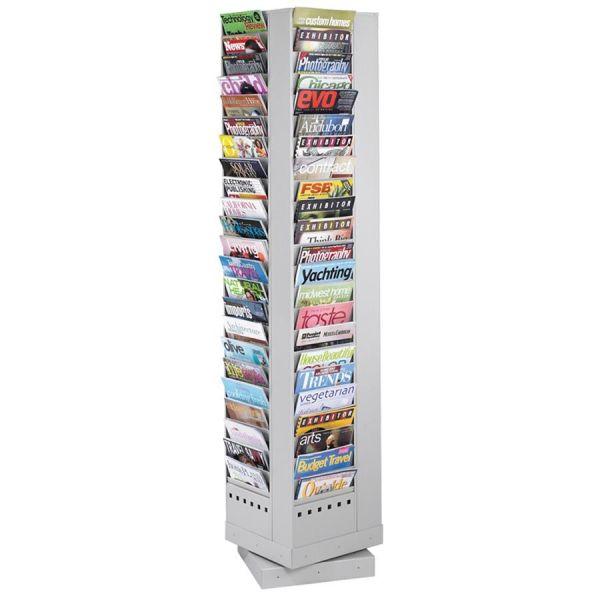 Safco 92 Pockets Steel Rotary Magazine Rack