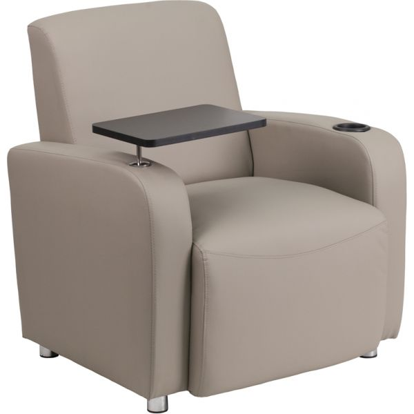 Flash Furniture Gray Leather Guest Chair with Tablet Arm [BT-8217-GV-GG]