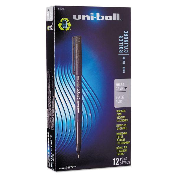 uni-ball Onyx Roller Ball Stick Dye-Based Pen, Black Ink, Micro, Dozen