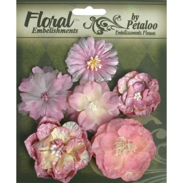 "Floral Embellishments Mixed Blooms 1.5"" To 2.25"" 6/Pkg"