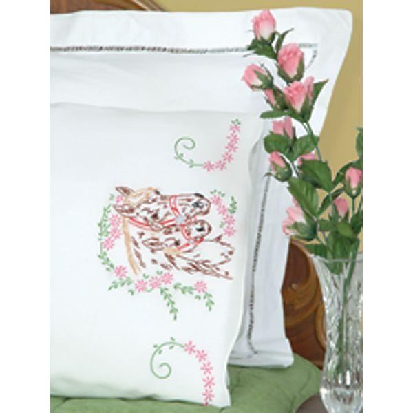 Stamped Pillowcases W/White Perle Edge 2/Pkg