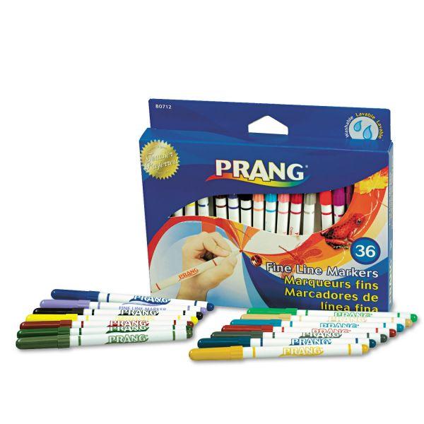 Dixon Prang Washable Markers, Fine Point, 36 Assorted Colors, 36/set