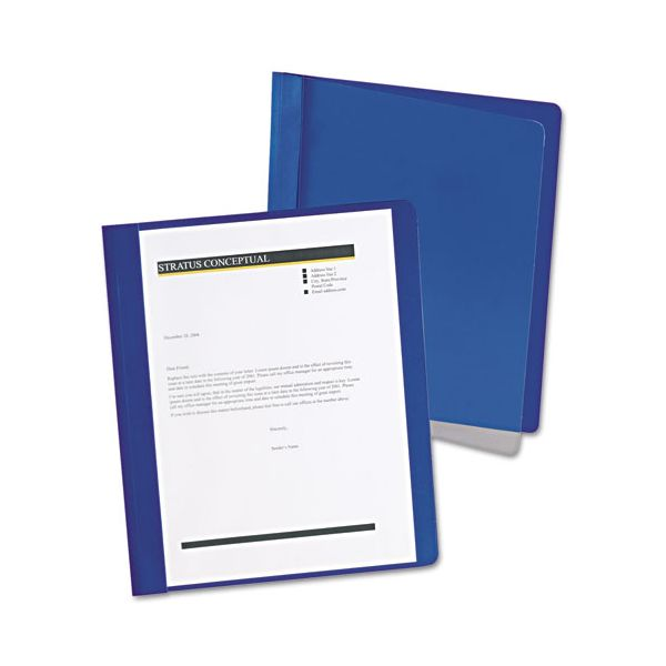 Oxford Extra-Wide Clear Front Report Covers, Letter Size, Dark Blue, 25/Box