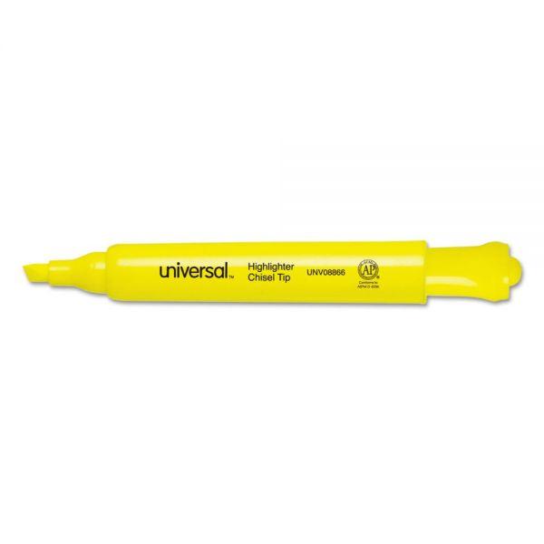 Universal Desk Highlighter, Chisel Tip, Fluorescent Yellow, 36/Pack