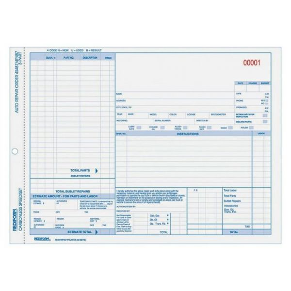 Rediform 3-part Auto Repair Order Forms