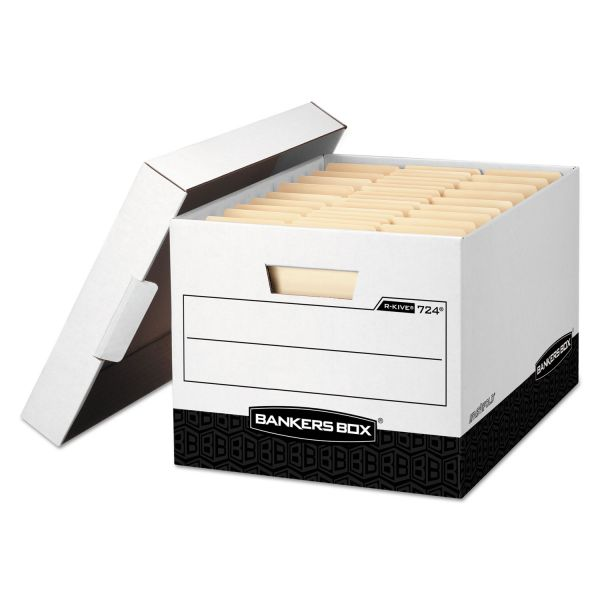 Bankers Box R-KIVE Max Storage Box, Legal/Letter, Locking Lid, White/Black, 12/Carton