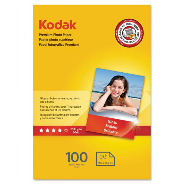 Kodak Premium Photo Paper, 8.5 mil, Glossy, 4 x 6, 100 Sheets/Pack