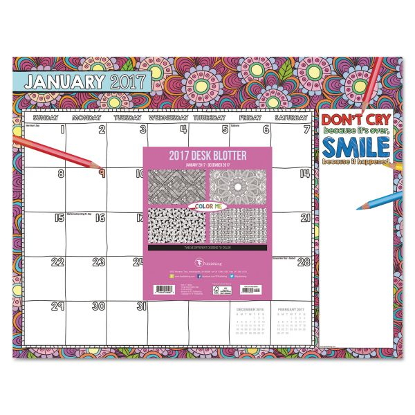 TF Publishing Color Me Inspired Desk Pad Calendar