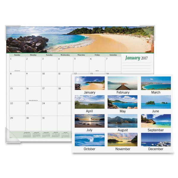 Visual Organizer Panoramic Seascape Monthly Desk Pad Calendar